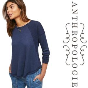 Anthropologie lodge waffle thermal top blue small